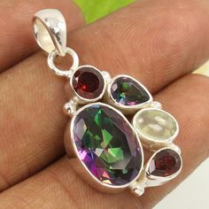 Beautiful Pendant MYSTIC QUARTZ & Other Gemstones 925 Sterling Silver Jewelry #Unbranded #Pendant