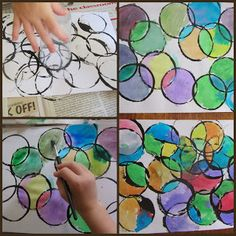 first, black paint on cups. then, once dry, different water colors in circles. neat!
