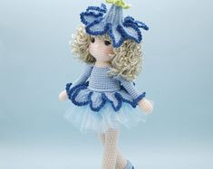 Amigurumi crochet DOLL - Sweet Bluebell flower doll with removable hat