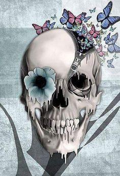 Skull & Gothic Art ☠️ minus the butterflies Skull Face, Human Skull, Hai Tattoo, Soft Tattoo, Badass Skulls, Totenkopf Tattoos, Sugar Skull Art, Sugar Skulls, Skeleton Art