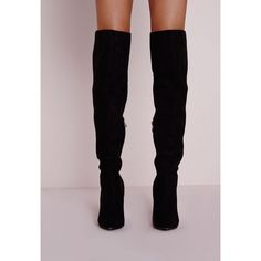 Knee High Stiletto Heeled Boots Black ❤ liked on Polyvore featuring shoes, boots, heel boots, black stilettos, black faux suede boots, high heel stilettos and stiletto boots