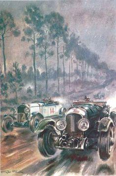 Worlds largest online auction of auto art, (l'art et l'automobile)- Bentley vs. Chrysler – Le Mans 1929 by Geo Ham (lot no: 142)
