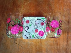Hand painted wine glass Spring Bloom stemless wine glasses and jewelry dish