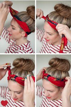 Tuto nouer foulard cheveux - scarf hairstyles tutorial