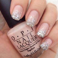 Pretty nude mani with glitter