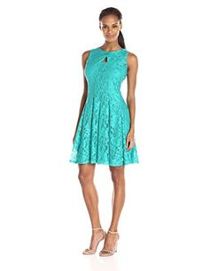 Julian Taylor Womens Fit and Flare Lace Dress with Ket Hole Sea Glass 12 >>> Details can be found by clicking on the image.