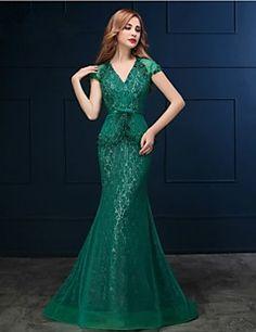 Formal+Evening+Dress+-+Clover+Trumpet/Mermaid+V-neck+Sweep/B...+–+CAD+$+166.79