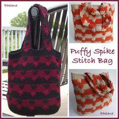 Free Pattern Puffy Spike Stitch Bag  Design by Crochet 'n Crafts