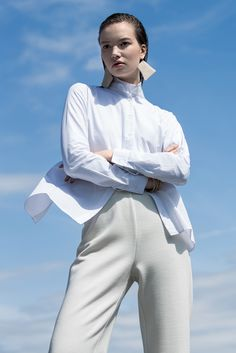 Cotton Shirt by Ji Oh paired with Aritzia's turtleneck in the Shirt Tales trend.