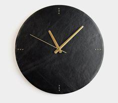 Black Leather Wall Clock Modern Wall Clock Letoon by Roarcraft