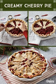 Sweeten up your holidays with this easy homemade Creamy Cherry Pie recipe. Cherry Desserts, Cherry Recipes, Pie Recipes, Dessert Recipes, Cooking Recipes, Christmas Desserts, Christmas Foods, Think Food, Homemade Pie
