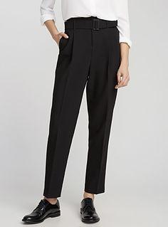 Belted structured semi-slim pant | Contemporaine | Shop Women's Work Pants| Simons