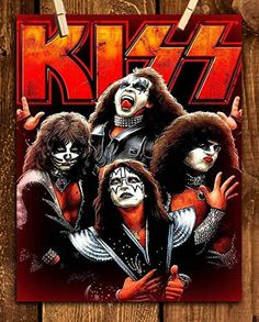 Kiss Band- Poster Print- 8 x Wall Print-Ready To Frame. Iconic Rock Band Sign Featuring the Members Paul, Gene, Ace & Peter. Home-Studio-Bar-Dorm-Man Cave Decor. Kiss Band, Kiss Rock Bands, Heavy Metal Rock, Heavy Metal Music, Rock Posters, Band Posters, Paul Stanley, Studio Bar, Banda Kiss