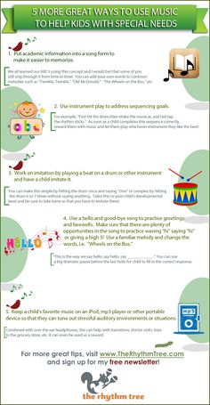 5 More Great Ways to Use Music to Help Kids with Special Needs #MusicTherapist #TheRhythmTree #MusicTherapyForAutism www.TheRhythmTree.com