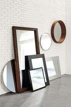 Room & Board - Manhattan Modern Mirrors in Stainless Steel - Modern Mirrors - Modern Entryway Furniture Modern Bedroom Furniture, Classic Furniture, New Furniture, Entryway Furniture, Furniture Stores, Mirror Room, Round Wall Mirror, Wall Mirrors, Leaning Mirror