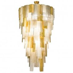 Cascading Gold Murano Glass Chandelier 428