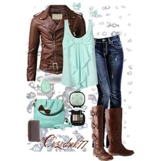 """Mint and Brown Bows"" by crzrdnk77 on Polyvore"
