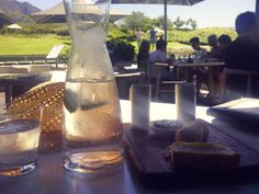 View through water jug at Bistro 1682 Beer, Restaurant, Meals, Glasses, Tableware, Root Beer, Eyewear, Ale, Eyeglasses