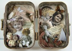 Gingersnap Creations: Laura Carson: Making an Altoid's Tin Book. Have to make one for my sentimental son! Altered Tins, Altered Bottles, Altered Books, Mint Tins, Tin Art, Tin Containers, Altoids Tins, Assemblage Art, Recycling