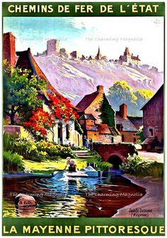 Vintage Chemins De Fur De L'etat La Mayenne France Travel Poster Print Digital Download Printable Image Instant Download For Paper Crafts