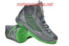 reputable site cb3f9 f1888 Pas Cher Femmes Nike Lunar Hyperdunk Wolf Gris Metallic argent Electric vert  535359 Lebron James Chaussures for Hommes
