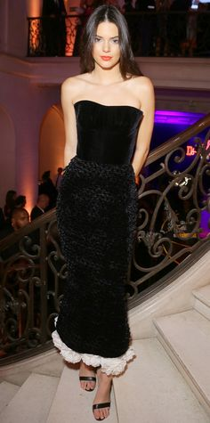 Kendall Jenner was a vision at fete in Paris in a strapless black velvet corset Ulyana Sergeenko Couture number.