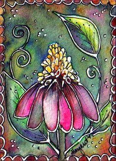TRADED...BATIK #179 NOSTALGIC CONE FLOWER  by Margaret Storer-Roche, via Flickr