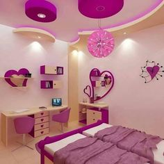 15 Incredible room furniture for little girls for your inspiration - Room accessories Study Room Design, Kids Room Design, Home Room Design, House Ceiling Design, Bedroom False Ceiling Design, Bed For Girls Room, Girl Room, Neutral Living Room Colors, Home Decor Hooks