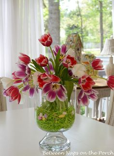 Pottery Barn Knock-off: Double Bowl Hurricane Easter Tulip Centerpiece Tulpen Arrangements, Floral Arrangements, Flower Arrangement, Hurricane Centerpiece, Easter Centerpiece, Simple Centerpieces, Party Centerpieces, Easter Table, Easter Eggs