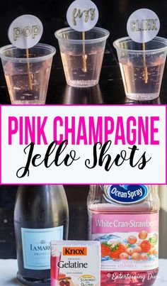 This easy pink champagne jello shots recipe is perfect for a New Year's party, bachelorette party or wedding. Made with white cranberry strawberry juice and champagne or prosecco, it tastes amazing, too! Tequila Jello Shots, Best Jello Shots, Champagne Jello Shots, Making Jello Shots, Vodka, Pink Champagne Margarita, Types Of Champagne, Jello Shot Cups, Champagne Birthday
