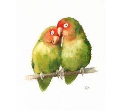 Love Birds Watercolor  Original Painting 8x10 by CMwatercolors