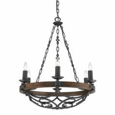 Amazon.com: Golden Lighting 1821-6 BI Chandelier with Metal Candle Sleeves Shades, Black Iron Finish: Home Improvement