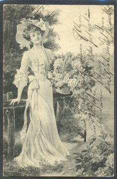 MZ077 VIENNE BKWI FEMME Elegante CHAPEAU CORBEILLE De ROSES 1904