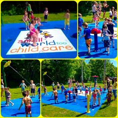 This Daycare splash pad is 700 sq ft of fun! Custom Logo work with our safety surface installation.  3 Above Ground water play features! She rents it out on the weekend for birthday parties for extra income plus the new enrollments = paying for itself!