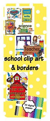 school clip art to use on TPT products