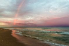A long exposure shot of a rare sunset rainbow over the ocean. Photo by Nick Zantop Mother Earth, Mother Nature, Beautiful Sunset, Beautiful Places, Beautiful Mess, Amazing Places, Rainbow Photo, To Infinity And Beyond, Sunset Photos