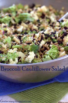 Grain Crazy: Healthy Broccoli Cauliflower Salad with greek yogurt and raw honey instead of mayo and white sugar!