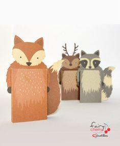 Woodland animals Emotibox - Funny paper box, seasonal greeting card, birthday card, emotion card, fox card, raccoon card, deer card