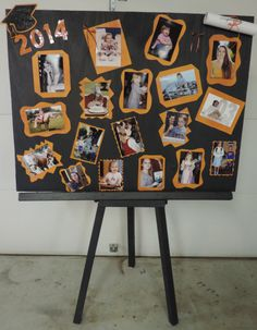 Having the graduation party outdoors gives me lots of room for displays.  I built an easel out of 1 X 2's and cut a large rectangle out of thin plywood.  Different shaped borders of the school colors around the pictures add a little pop. And I have a nice picture board for graduation.  This project cost me $1.65 (the price of pictures discounted at Walmart) All of the wood was free scraps.