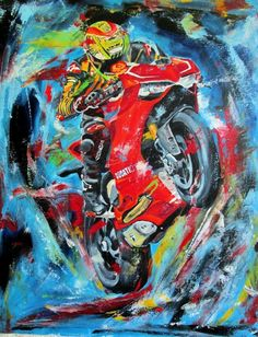 "Ducati Motorcycle original oil painting on canvas 16"" x 20"""