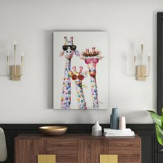 'Curious Giraffes Family' - Wrapped Canvas Painting Print Happy Larry Size: H x W x D 3 Canvas Paintings, Painting Prints, Canvas Art, Canvas Prints, Art Prints, Giraffe Family, Family Dining Rooms, Solid Wood Shelves, Urban Design
