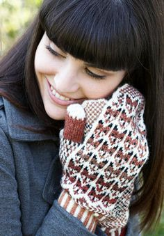 Free Knitting Pattern - Adult Gloves & Mittens: Fox in the Snow Mittens