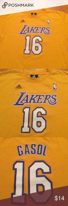 Pau Gasol Los Angeles Lakers Pau Gasol Los Angeles Lakers adidas Net Number T-Shirt - Gold Adidas Shirts & Tops Tees - Short Sleeve