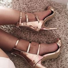 Golden Strappy Sandals #Sandals #Heels
