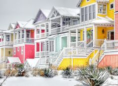 Snowy Ocean beach in North Carolina on January 10. These houses are part of the 'Sea Dreams' development on the beaches of Atlantic Beach, NC. .