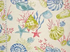Seashell fabric ocean nautilus coral starfish from Brick House Fabrics