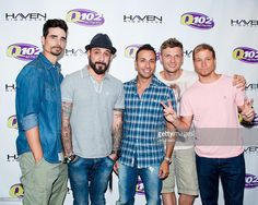 Kevin Richardson, A. J. McLean, Howie Dorough, Nick Carter and Brian Littrell of the Backstreet Boys pose at the Q102 Performance Theater on June 24, 2013 in Bala Cynwyd, Pennsylvania.