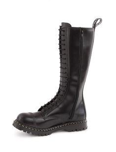 2252742e92af 20 Eyelet Steel Toe Zipper Boot in Black