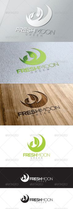 Green Fresh Moon Logo by Graphic Design Typography, Graphic Design Illustration, Branding Design, Clover Logo, Inspiration Logo Design, Moon Logo, Green Logo, Cool Business Cards, Logo Concept