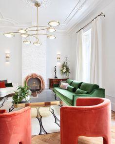 green sofa, pumpkin chairs